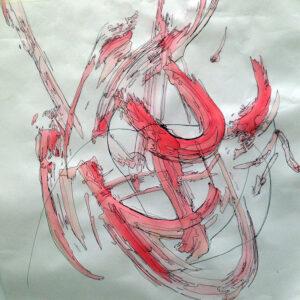 Beata Kozlowska, Alpha rotation, gel pen and gauche on paper, 45x40cm, Studio Voltaire, 2015